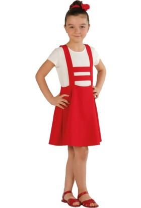 Zekids Kız Çocuk Salopet Elbise Pembe - 8 Yaş