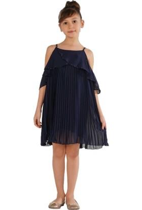 Zekids Kız Çocuk Pilise Elbise Kırmızı - 14 Yaş