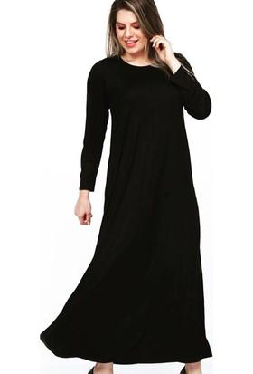 NBB Büyük Beden Uzun Düz Siyah Elbise