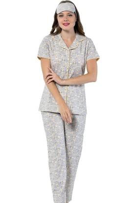 İnsta Pijama Tavşan Desenli Önden Düğmeli Kısa Kollu Pijama Takımı