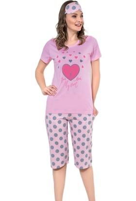 İnsta Pijama Kalp Desenli Kapri Kısa Kollu Kadın Pijama Takımı
