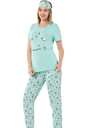 İnsta Pijama Kuzu Desenli Kısa Kollu Kadın Pijama Takımı