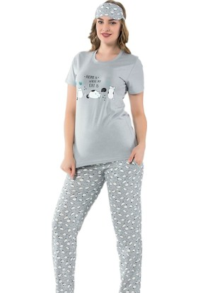 İnsta Pijama Gri Kedi Desenli Kısa Kollu Kadın Pijama Takımı
