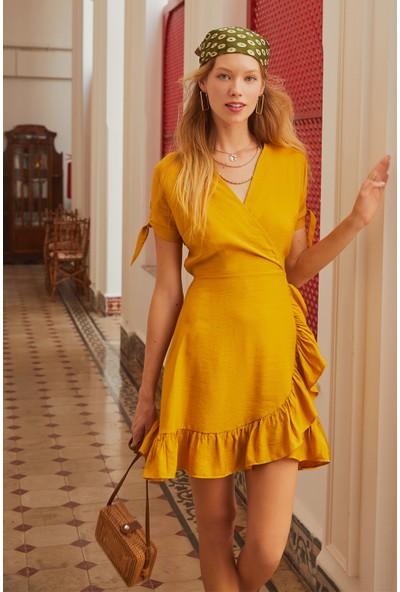 Eka Kadın Kruvaze Yaka Büzgülü Elbise-Hardal