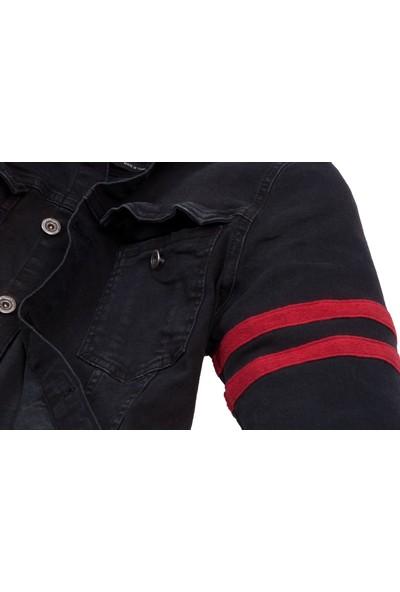 Las Vegas Siyah Renk Bordo Kol Şeritli Erkek Kot Ceket
