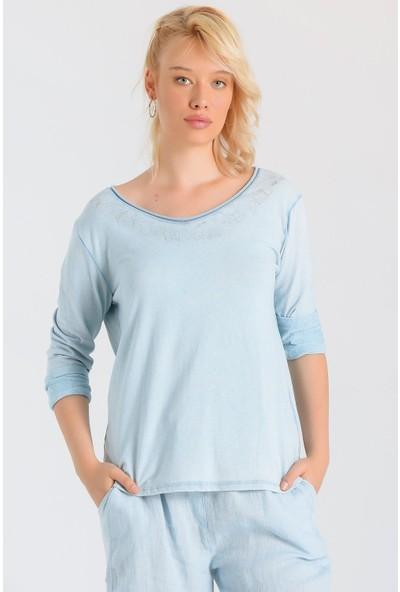 Pua Fashion Kadın İtalyan Mavi Yakası Simli Uzun Kollu Bluz