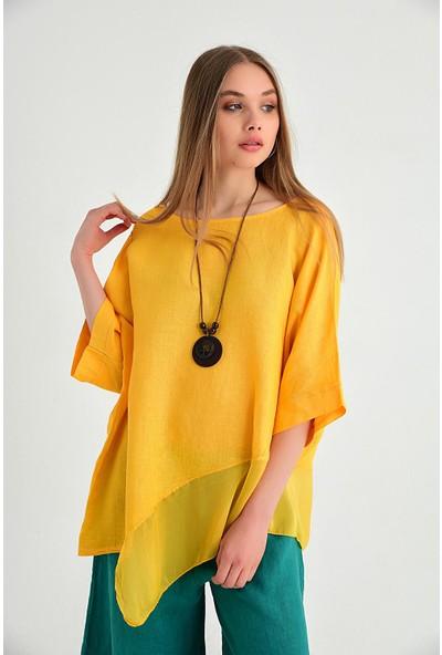 Pua Fashion Kadın İtalyan Sarı Eteği İpek Kolyeli Keten Bluz
