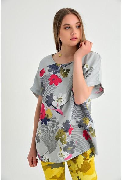 Pua Fashion Kadın İtalyan Gri Keten Çiçek Baskılı Bluz