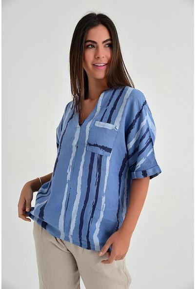 Pua Fashion Kadın İtalyan İndigo Çizgili V Yaka Keten Bluz
