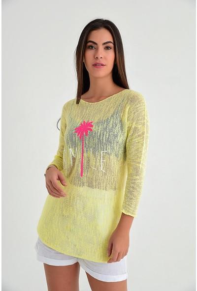 Pua Fashion Kadın İtalyan Sarı Palmiye Baskılı Merserize Bluz