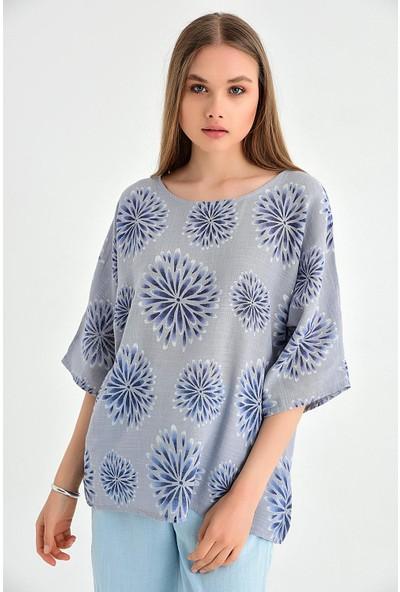 Pua Fashion Kadın İtalyan Gri Desenli Coton Bluz