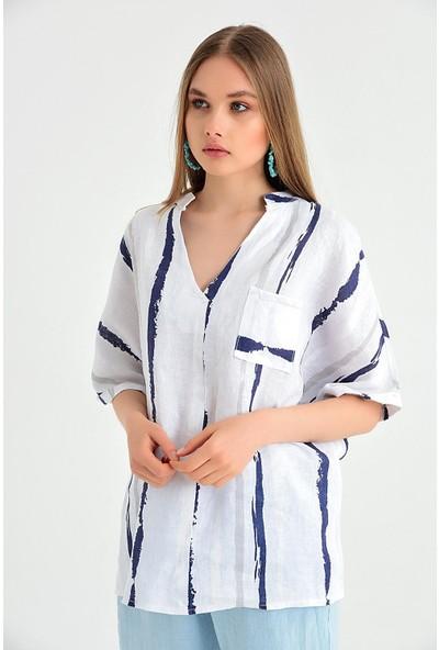 Pua Fashion Kadın İtalyan Beyaz Çizgili V Yaka Keten Bluz
