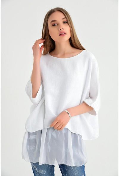 Pua Fashion Kadın İtalyan Beyaz Keten Eteği İpek Bluz