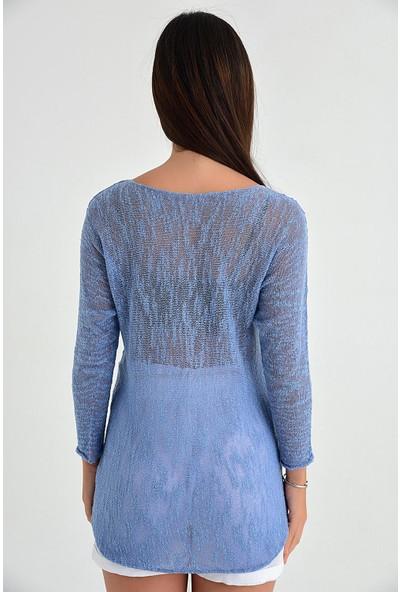 Pua Fashion Kadın İtalyan İndigo Palmiye Baskılı Merserize Bluz