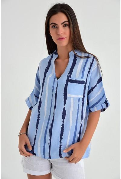 Pua Fashion Kadın İtalyan Mavi Çizgili V Yaka Keten Bluz