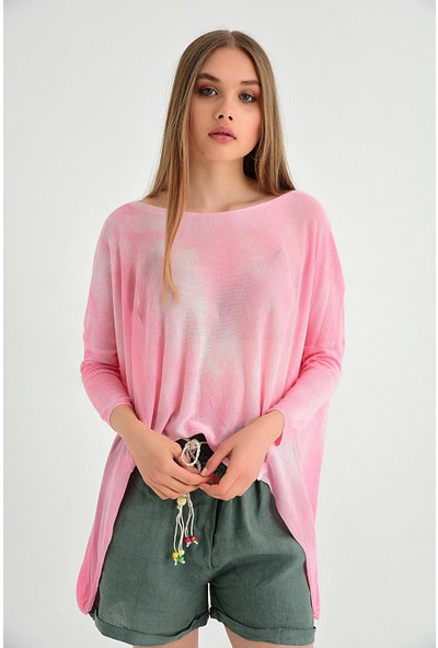 Pua Fashion Kadın İtalyan Pembe Önü Kısa Salaş Triko Bluz