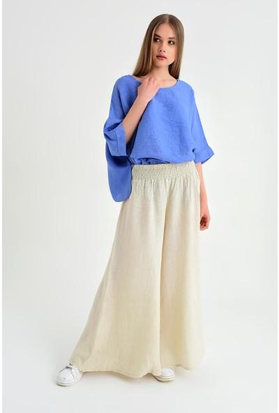 Pua Fashion Kadın İtalyan Bej Belı Lastık Keten Salaş Pantolon