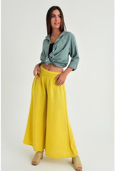 Pua Fashion Kadın İtalyan Sarı Belı Lastık Keten Salaş Pantolon