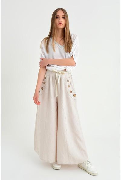 Pua Fashion Kadın İtalyan Bej Cebı Düğmeli Salaş Keten Pantolon