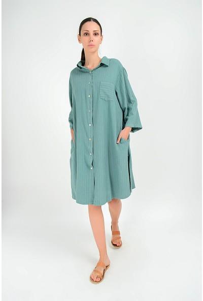 Pua Fashion Kadın İtalyan Yeşil Keten Çizgili Elbise