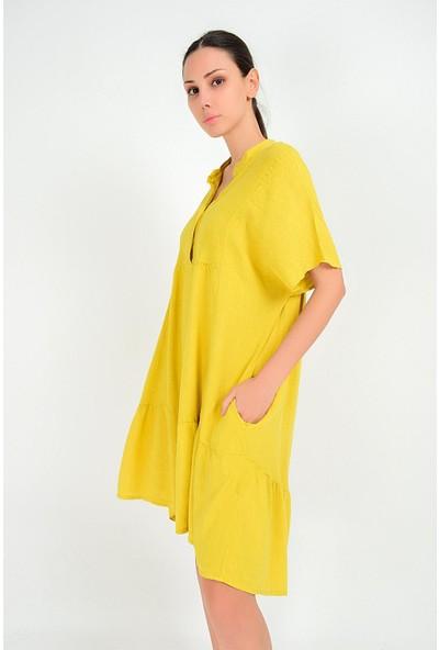 Pua Fashion Kadın İtalyan Sarı Önü Kısa Salaş Keten Elbise