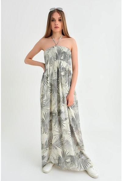 Pua Fashion Kadın İtalyan Bej Desenli Straplez Elbise