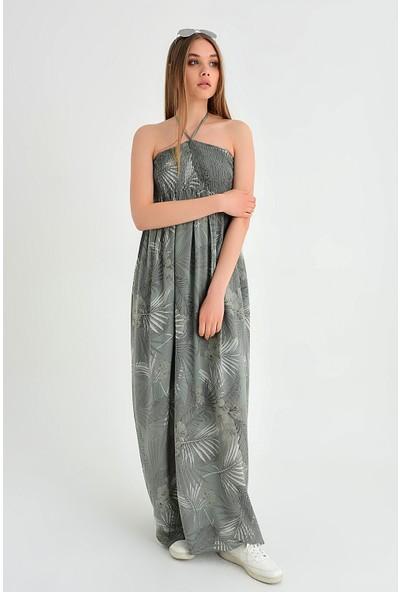Pua Fashion Kadın İtalyan Haki Desenli Straplez Elbise