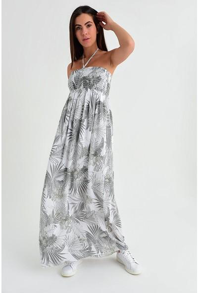 Pua Fashion Kadın İtalyan Beyaz Desenli Straplez Elbise