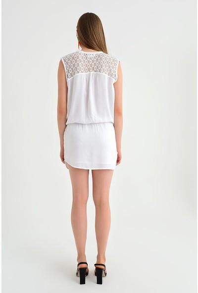 Pua Fashion Kadın İtalyan Beyaz Omuzu Sırtı Dantel Kolsuz Mini Elbise