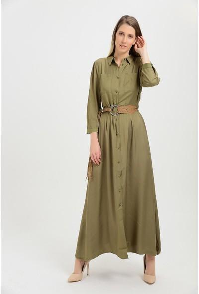 Pua Fashion Kadın İtalyan Haki Kemerli Ön Düğme Uzun Elbise