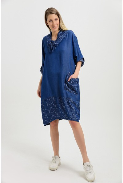 Pua Fashion Kadın İtalyan Lacivert Şal Yaka Çiçek Desenli Elbise