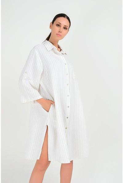 Pua Fashion Kadın İtalyan Beyaz Keten Çizgili Elbise