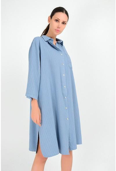 Pua Fashion Kadın İtalyan Mavi Keten Çizgili Elbise