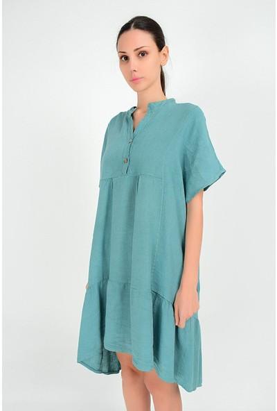 Pua Fashion Kadın İtalyan Yeşil Önü Kısa Salaş Keten