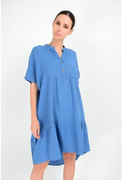 Pua Fashion Kadın İtalyan Mavi Önü Kısa Salaş Keten