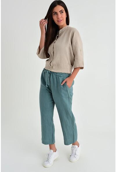 Pua Fashion Kadın İtalyan Haki Beli Lastikli Bol Paça Keten Pantolon