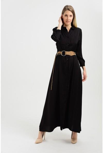 Pua Fashion Kadın İtalyan Siyah Kemerli Ön Düğme Uzun