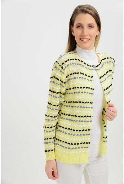 Pua Fashion Kadın İtalyan Sarı Renkli Tek Düğme Hırka
