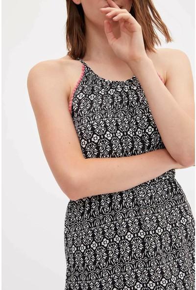 Defacto Kadın Desenli Plaj Elbisesi