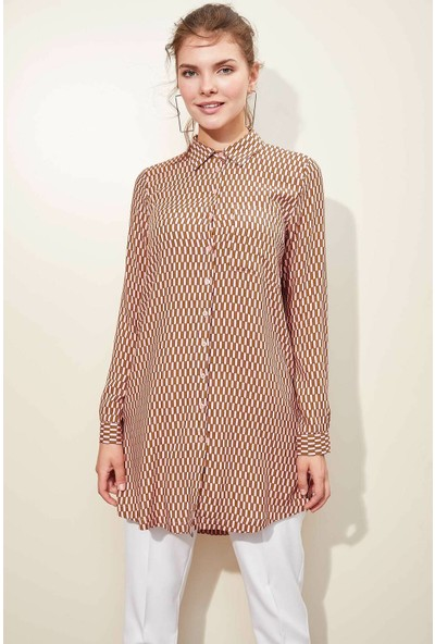 Defacto Kadın Çizgili Gömlek Tunik