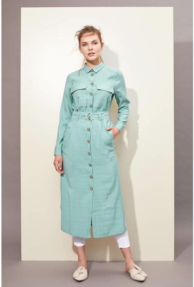 Defacto Kadın Kemerli Düğmeli Uzun Elbise