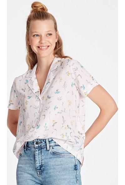 Mavi Kadın Kısa Kollu Pembe Gömlek