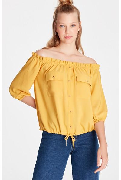 Düşük Omuzlu Sarı Bluz 122381-30728