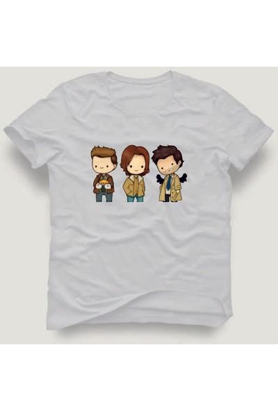 Tshirtadam Supernatural Dean & Sam & Castiel Cartoon Beyaz Kısa Kollu T-Shirt