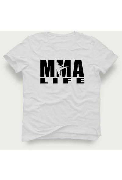 Tshirtadam Mma Life Beyaz Kısa Kollu T-Shirt