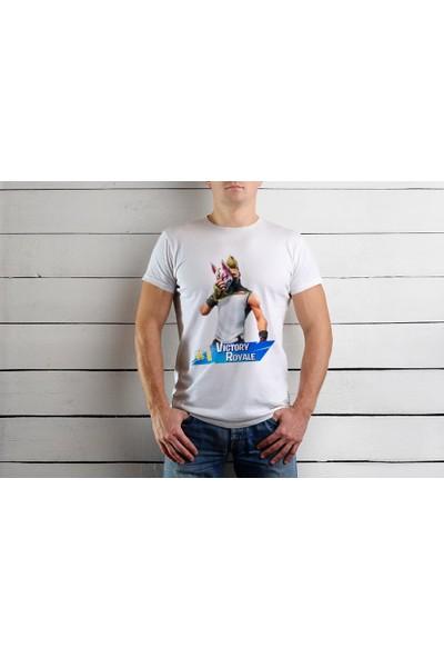 Tshirtadam Fortnite Beyaz Kısa Kollu T-Shirt