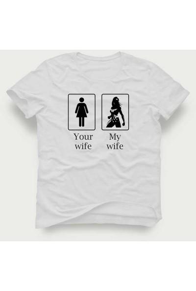 Tshirtadam Your Wife My Wife Beyaz Kısa Kollu T-Shirt