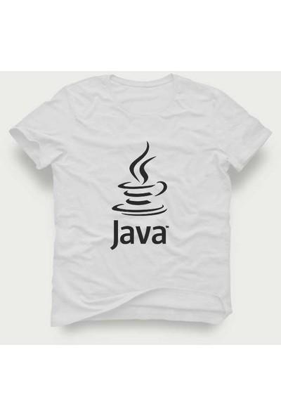 Tshirtadam Java Baskılı Beyaz Kısa Kollu T-Shirt