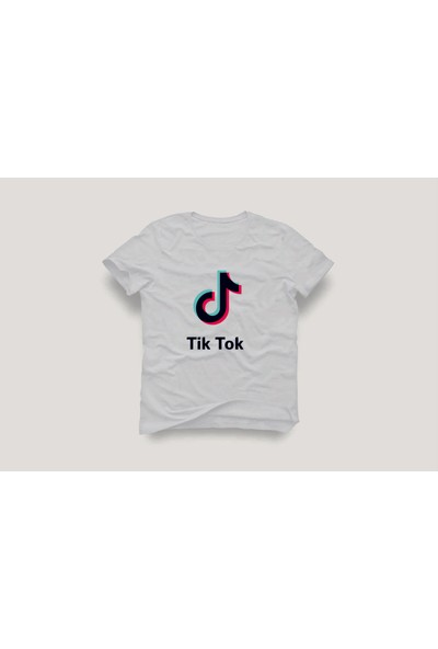 Tshirtadam Tik Tok Logo Beyaz Erkek T-Shirt