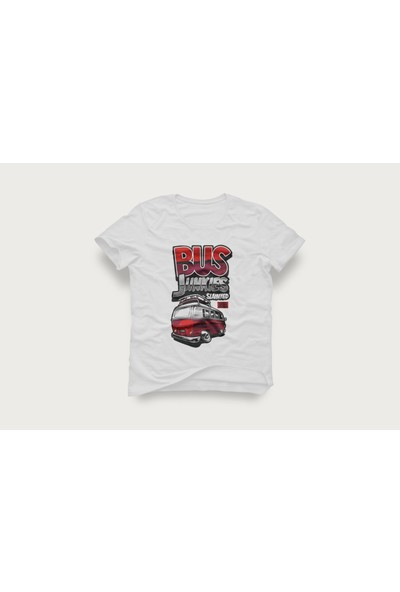 Tshirtadam Bus Junkies Karavan Beyaz Kısa Kollu T-Shirt